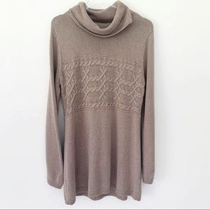 BYLYSE Cozy Cable Knit Tunic Sweater Cowl Neck